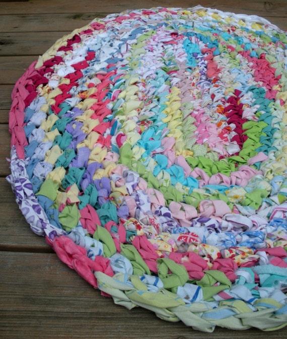 40x28 Hand Crocheted Oval Rag Rug Rainbow Rug