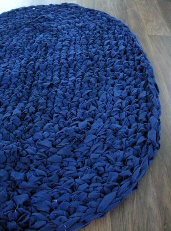 40x28 Navy Blue Hand Crocheted Oval Rag Rug