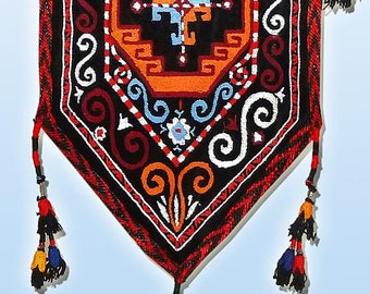 fantastic unusual uzbek lakay silk hand-embroidered flag a7832