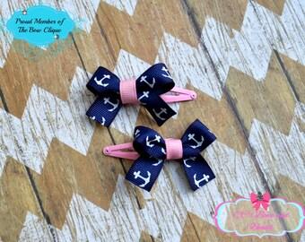 Pink and Navy Anchor Snap Clip Set