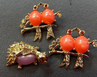 Two Cute Bird Brooches and One Hedgehog Pin