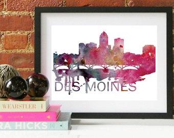 Des Moines Art, Des Moines Skyline, Des Moines map, Des Moines wall art, Des Moines map print