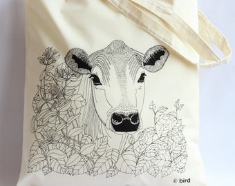 Through the hedge 'Cow' Cotton Tote Bag