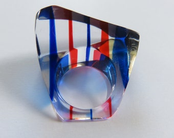 Funky Vintage 1960's Geometric Modernist Ring