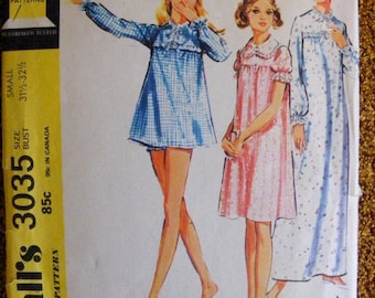 51% OFF Misses' Nightgown / Panties Vintage 1970s McCall's Sewing Pattern 3035 Size s Small