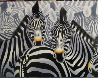"""Zebra painting oil painting on canvas 32""""X48"""""""