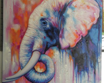 "Elephant painting oil painting on canvas 36""X48"""