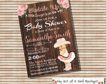 Cowgirl Baby Shower invitation vintage peach country wood backyard shower party invite invitation digital printable invitation 13908