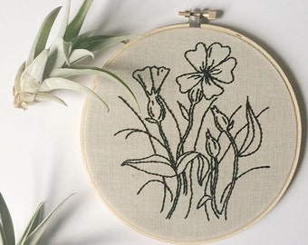 Wildflower Hand Embroidered Wall Art, Floral, flowers, modern, home decor, gift idea, embroidery, fiber art botanical