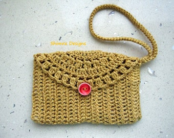 Gold Crochet Wristlet Purse/Clutch with a Vintage Orange Button, Fully Lined, 100% Cotton.