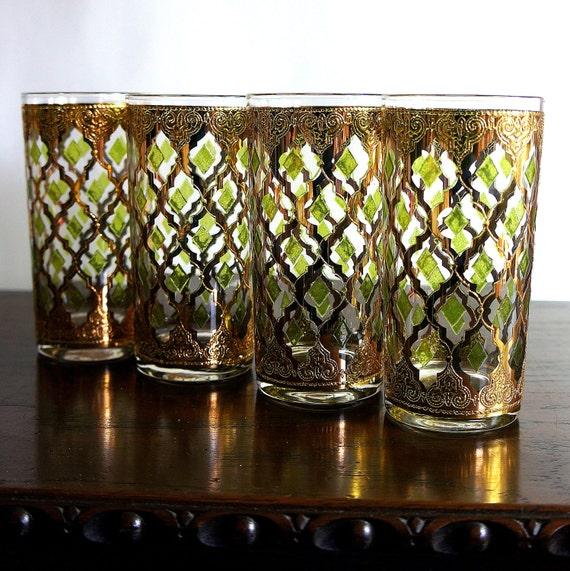 Valencia culver glass 1960s vintage gold barware glasses four - Vintage valencia ...