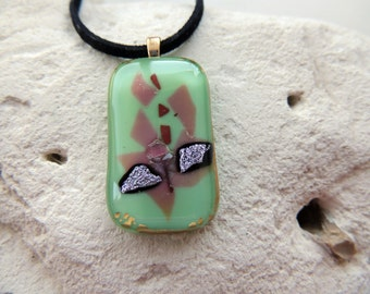 Fused glass gold,purple and pink pendant necklace,one of a kind light green rectangle necklace