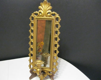 Vintage Wall Sconce, Mirrored Goldtone Wall Sconce Candle Holder