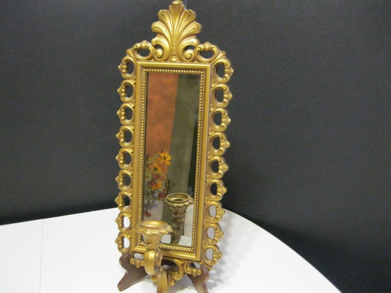 Gold Tone Candle Wall Sconces : Vintage Wall Sconce Mirrored Goldtone Wall Sconce Candle