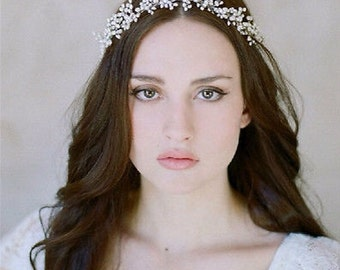 BRIDAL PEARL CROWN, Wedding Pearl Crown, Bridal Pearl headband, Wedding Pearl Tiara, Bridal Pearl Tiara, Bridal Pearl Hairband