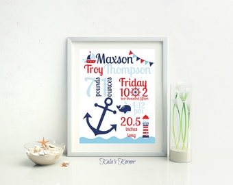 NAUTICAL NURSERY DECOR - Nautical Birth Stat Print - Nautical Nursery Art - Custom Nursery Print - Personalized Print - Unframed 8x10 Print