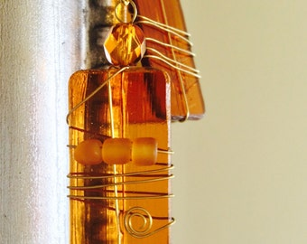 Golden brown earrings, golden wire, light brown stained glass earrings