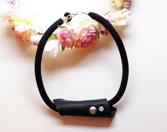 Woman Statement necklace - black - hand crafted - with metal button - polymer clay