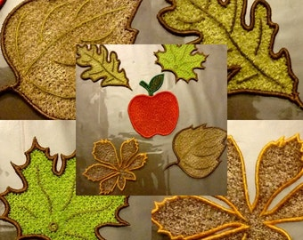 Lace Embroidery Leaves Autumn 4x4