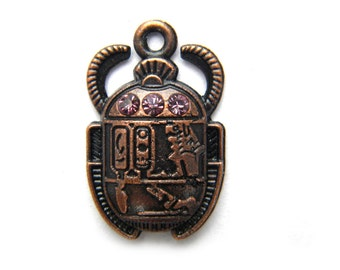 6 Copper Scarab Charms - Pink Rhinestone - Egyptian