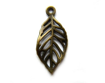 6 Bronze  Leaf Charms - 28mm