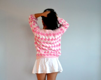 Vintage Easter Sweater Pink and White Basket Weave Design Chunky Knit