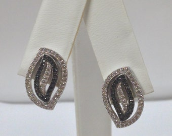 Black and White Cubic Zirconia Stone Earrings 925 Sterling Silver