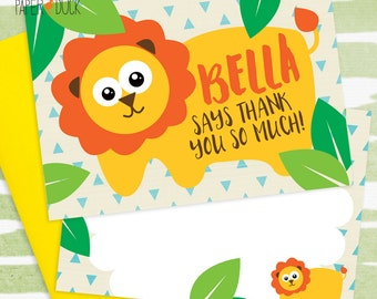 8 X Personalised LION Jungle Safari Animal Thank You Mini Note Card Stationary