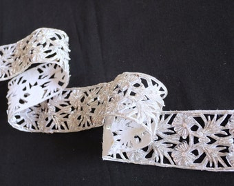 Intricate cutwork silver metlaic thread floral embroidered and sequined trim