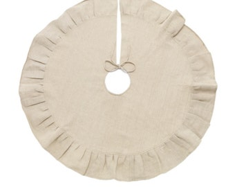 Monogram Christmas Tree Skirt. Burlap Ruffle Tree Skirt - Personalize with your Initials or Name