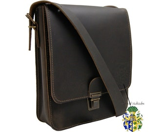 Shoulder bag ARISTOTELES brown genuine leather