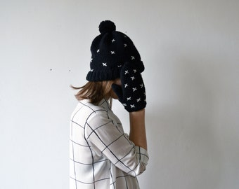 CRISS-CROSS/ hand knitted black color hat and mittens with cross embroidery natural wool hat black and white minimalistic pom pom hat