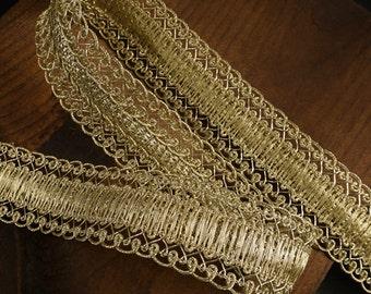 """1-1/8"""" Metallic Gold Braid Trim by 2-yards, MAY-AL313"""