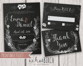PRINTABLE Customizable Wedding Invitation Set   Rustic Floral Sketch   Includes Invitation Card, RSVP Card, and Thank You Card