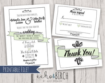PRINTABLE Customizable Wedding Invitation Set   Fun Typography   Includes Invitation Card, RSVP Card, and Thank You Card
