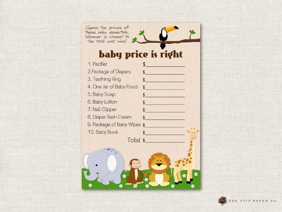 Safari Price Is Right Baby Shower Game Zoo Animal Baby