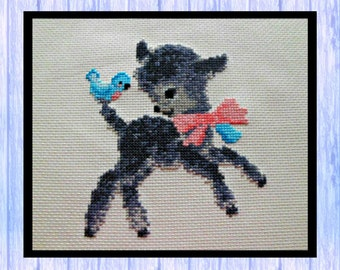 Little Black Lamb and Friend, Cross Stitch Chart, PDF Download, Made in Scotland
