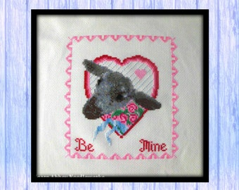 Sweetheart Lamb Cross Stitch Chart, SHEEP, Pattern, PDF Download, from Scotland, Valentine Love, Pink & Red, Hearts, Lambs, Sheep