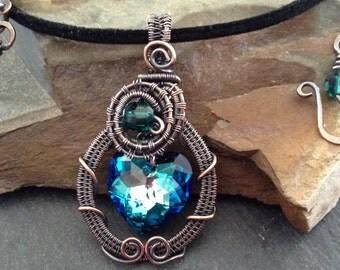 Heart,Valentine day,Swarovski Crystal,hand woven copper