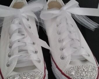 Custom Converse Sneakers, Unique Custom Converse Sneakers, Bling Converse Sneakers, Customized Converse Sneakers, Wedding Sneakers