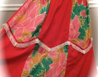 Custom Handmade Hawaiian Skirt With Lace / Adjustable waist band / XL / XXL / Size 16 - 20