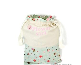 Flower girl bag,Flower girl purse, Drawstring bag, personalized flower girl bag,wedding bag,Flower girl basket,Ivory flower girl bag