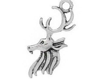 7 -  Double Sided Deer Head Charm