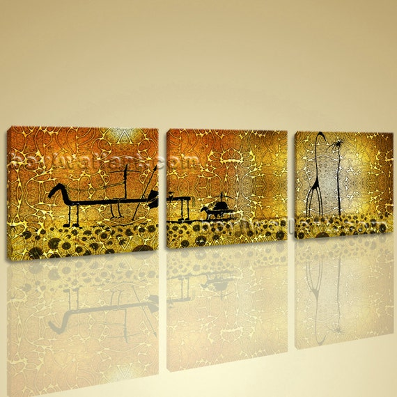 Wall Decor Pieces : Large abstract canvas wall art set pieces picture hd print