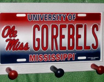 Ole Miss University License Plate Peg Hanger