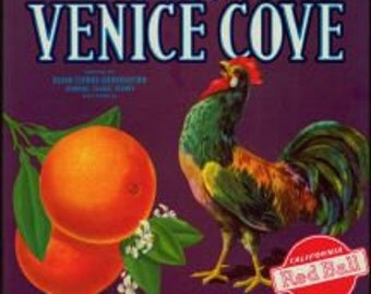 Venice Cove Crate Label with Rooster
