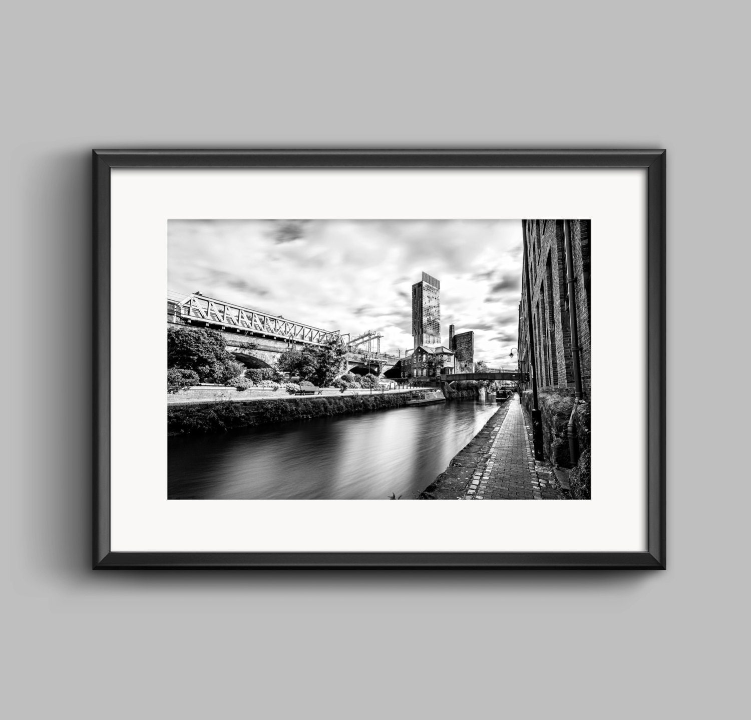 Line Art Rochdale : Black and white landscape photograph of rochdale canal