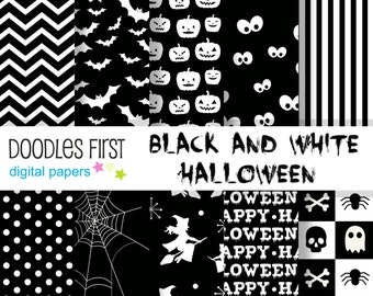 Balck and White Halloween Digital Paper Pack Includes 10 for Scrapbooking Paper Crafts