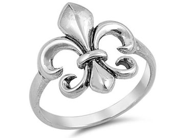 Solid High Polish Sterling Silver Fleur De Lis Ring Size 7 8 9 10