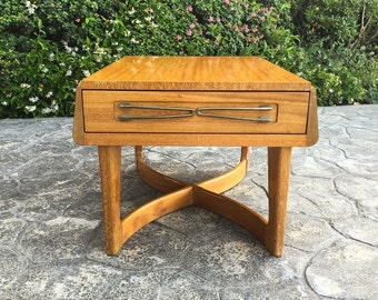 1950s X Base / Brown Saltman End Table / Night Stand / Bedside Table